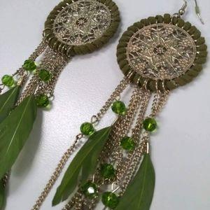 Feather Boho Mandala Dangle Earrings